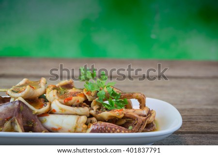 Grilled octopus street cart in Thailand . - stock photo
