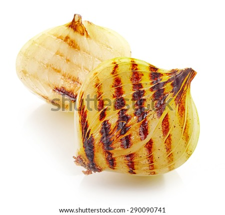 grilled onion pieces isolated on white background - stock photo