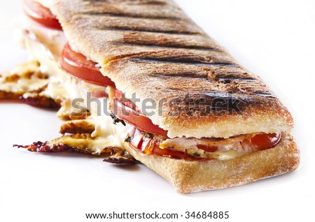 grilled panini sandwich with melted cheese