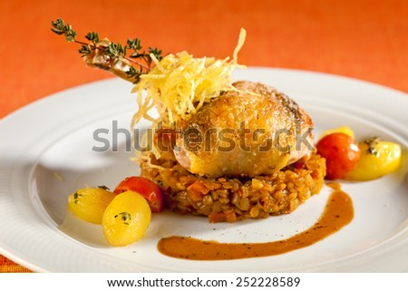 Grilled pearl chicken, on red lentils, red and yellow cherry tomatoes, potatoes, thyme and crispy potato straw. - stock photo