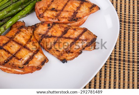 Grilled Piri Piri Chicken and Asparagus - stock photo