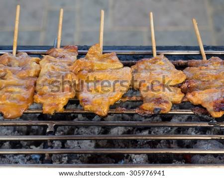 grilled pork - stock photo