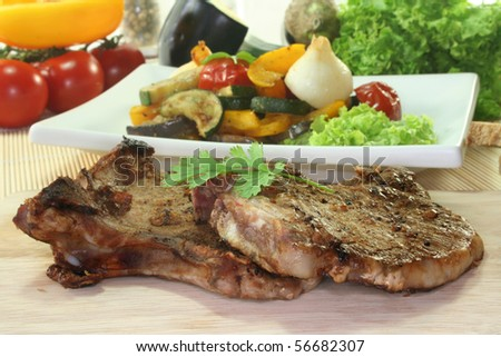 Grilled pork chop with grilled Mediterranean vegetables