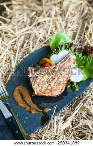 Grilled pork cops with seasonings and vegetable salad on stone - stock photo