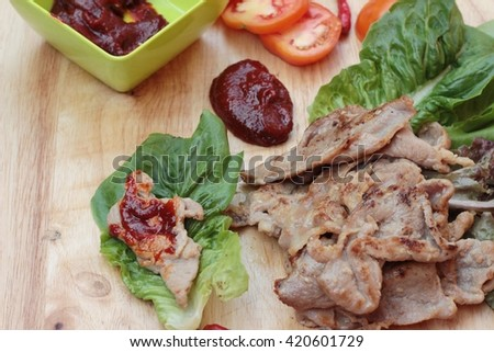 grilled pork korean food  - stock photo