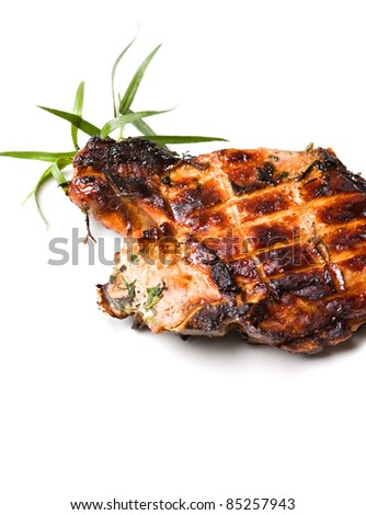 Grilled pork meat isolated over white background