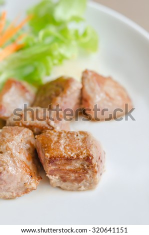 grilled pork meat with fresh salad on a plate