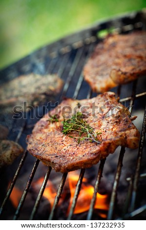 Grilled Pork Steak BBQ with herbs. Barbecue Meat Steak outdoor on fire grill