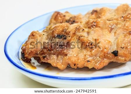 grilled pork, Thai food style, roasted pork on plate - stock photo