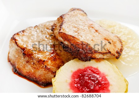 grilled pork with apple