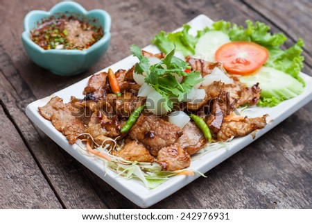 Grilled pork with garlic