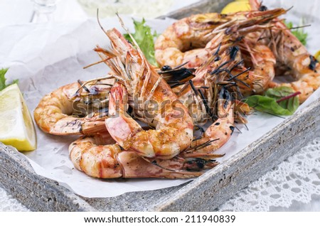 grilled prawns  - stock photo