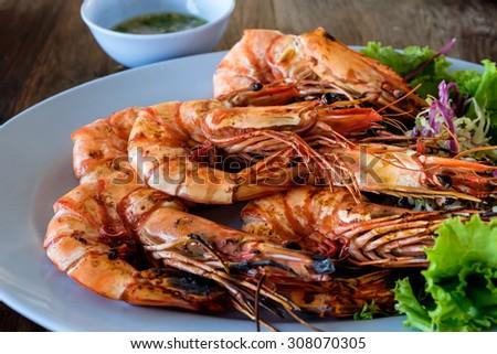 Grilled prawns - stock photo