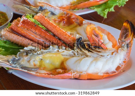 Grilled prawns, Grilled fresh big shrimp, Barbe que seafood of Phra Nakhon Si Ayutthaya, Thailand.