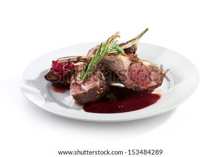 Grilled Rack of Lamb with Thyme - stock photo