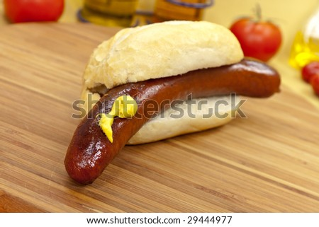 grilled red sausage with sweet bun