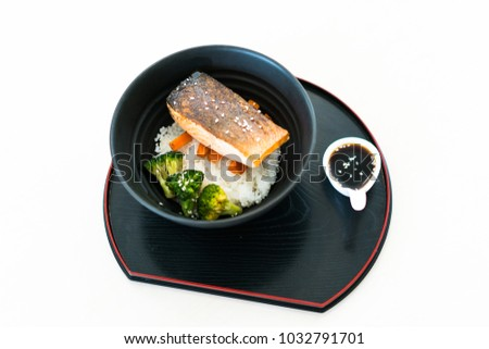 Grilled Salmon and Rice, japanese food