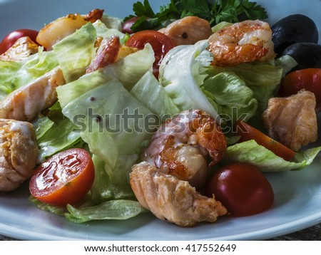 Grilled Salmon and shrimp salad - stock photo