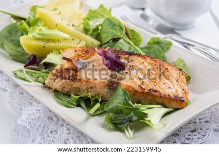 grilled salmon fillet - stock photo