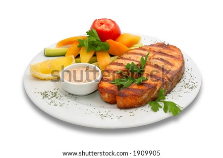 Grilled salmon fish with fresh vegetables on plate. Isolated on white. - stock photo