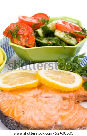 Grilled salmon  salad on a white background