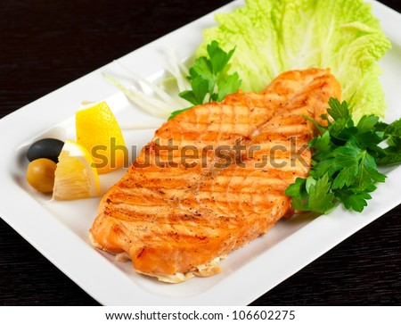 Grilled salmon steak - stock photo