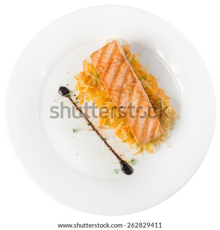 Grilled salmon steak isolated on white background. Clipping path - stock photo