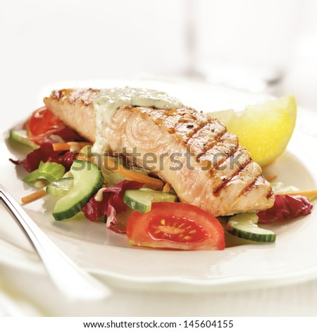 grilled salmon steak served on lettuce tomato and cucumber with a garnish of lemon  - stock photo