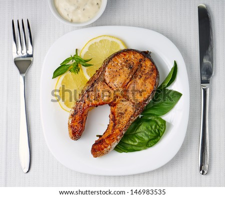Grilled Salmon Steak. Top View - stock photo