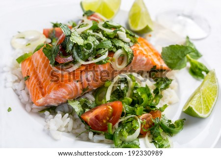 Grilled Salmon Fresh Salad Leafgrilled Salmon Stock Photo ...