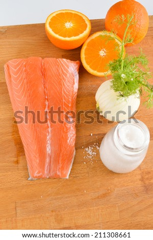Grilled salmon with orange, fennel and olive oil - stock photo