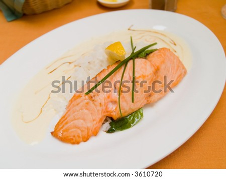 Grilled salmon with rice . Shallow DOF.