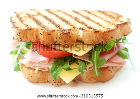 Grilled sandwich with ham and cheese - stock photo