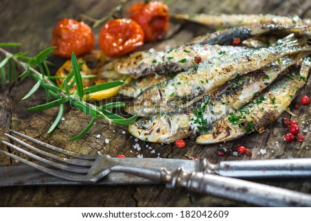Grilled sardine   - stock photo