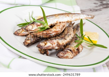 Grilled sardines on plate. Culinary seafood eating in white and green.  - stock photo