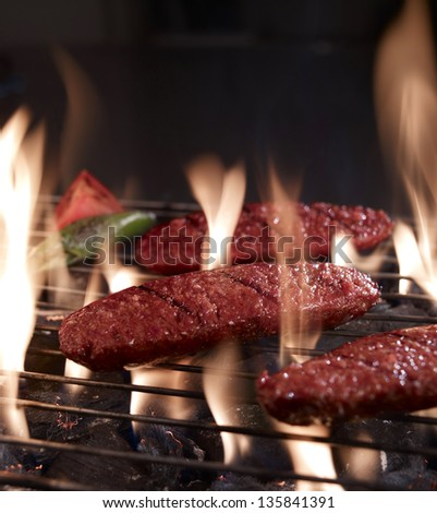grilled sausage - stock photo