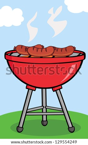 Grilled Sausages On Barbecue With Background. Raster Illustration.Vector Version Also Available In Portfolio.