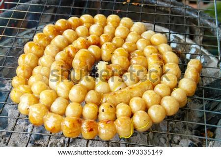 grilled sausages, Thai pork mix rice sausage (Sai Krawk E-san) - stock photo