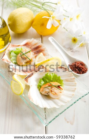grilled scallop - stock photo