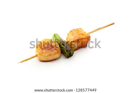 Grilled Scallop isolated over White - stock photo