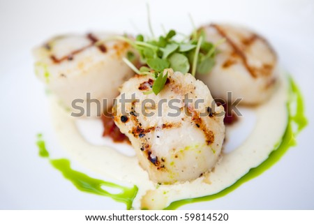 Grilled scallops on a white plate with garnish and sauces. Short depth of field. - stock photo