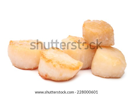 Grilled scallops on white background - stock photo