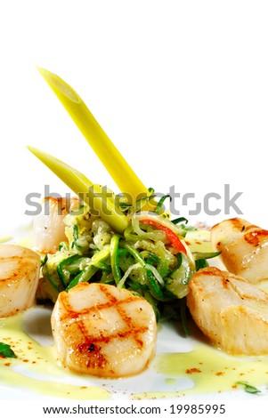 Grilled Sea Scallop with Zucchini Spaghetti and Spice Sauce - stock photo