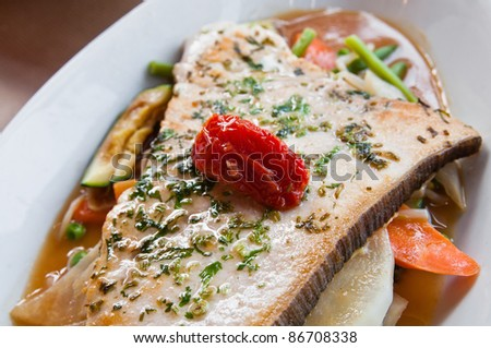 grilled seafood and vegetables-french cuisine dish with many vegetables - stock photo