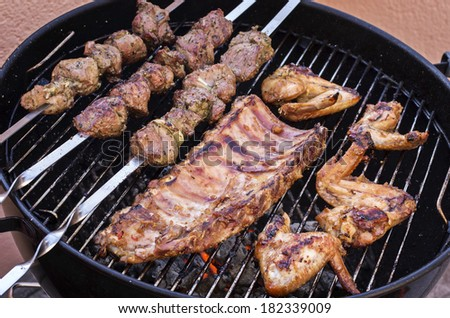 grilled shashlyk and chicken
