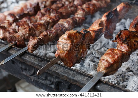 Grilled shish kebab on metal skewer, closeup. Roasted meat cooked at barbecue. BBQ fresh beef chop slices. Traditional eastern dish. Grill on charcoal and flame, picnic, street food