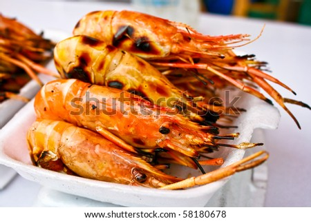 Grilled shrim ready to be serve - stock photo