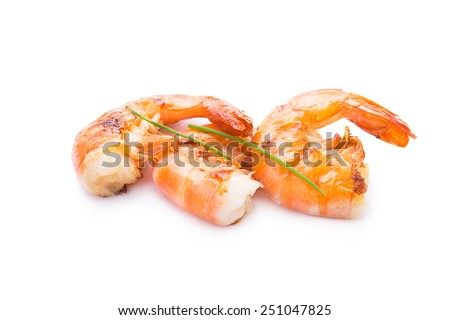 Grilled shrimp isolated on white - stock photo