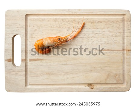 grilled shrimp on wooden plate - stock photo