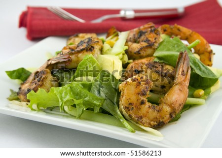 Grilled Shrimp salad Avocado - stock photo